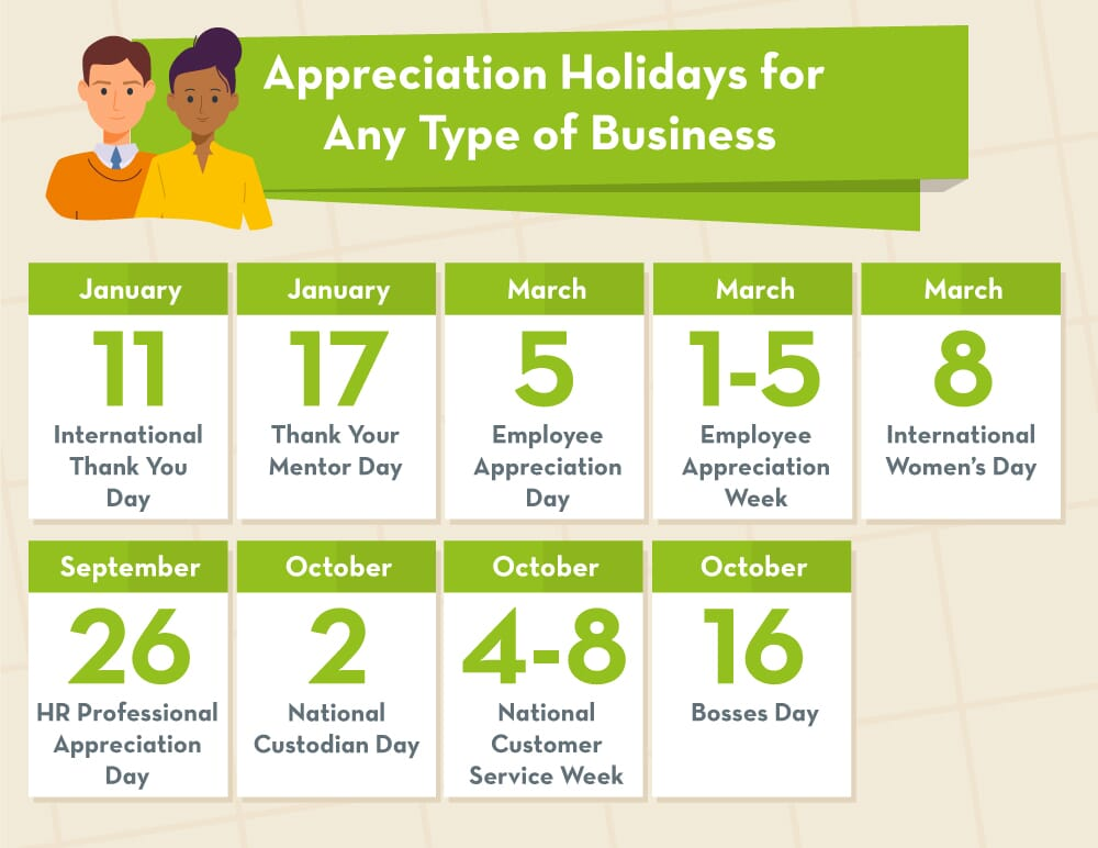 Appreciation days calendar for all business types