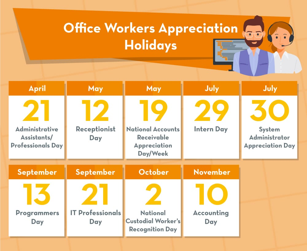 Appreciation holidays calendar for office workers