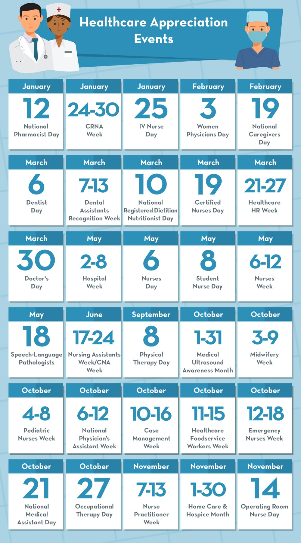 Healthcare appreciation holidays calendar