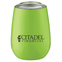 Lime green tumbler shaped like a stemless wine glass, with a black logo and clear plastic lid