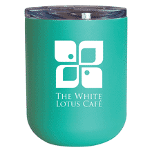Mint blue tumbler with white logo and clear plastic lid