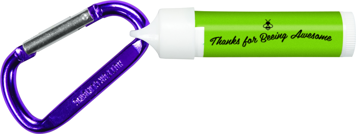 lip balm and carabiner with volunteer appreciation logo