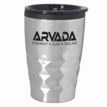 Stainless steel tumbler with black logo and black plastic lid