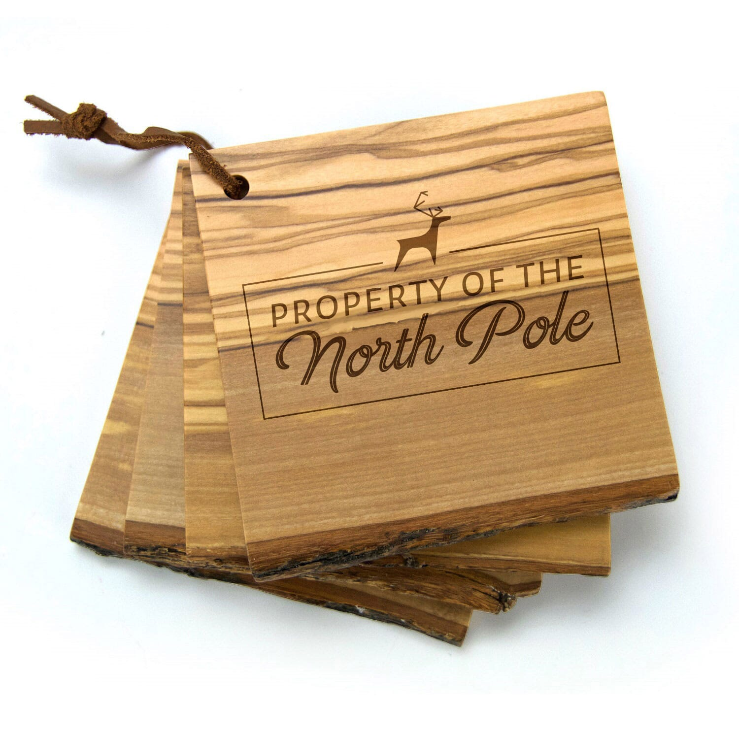 Wooden coaster set with holiday engraving