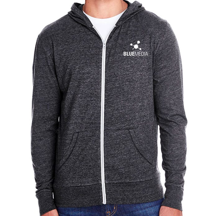 Black Heathered Threadfast Full Zip Hoodie with Logo