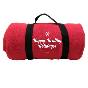 Fleece roll-up blanket with holiday imprint