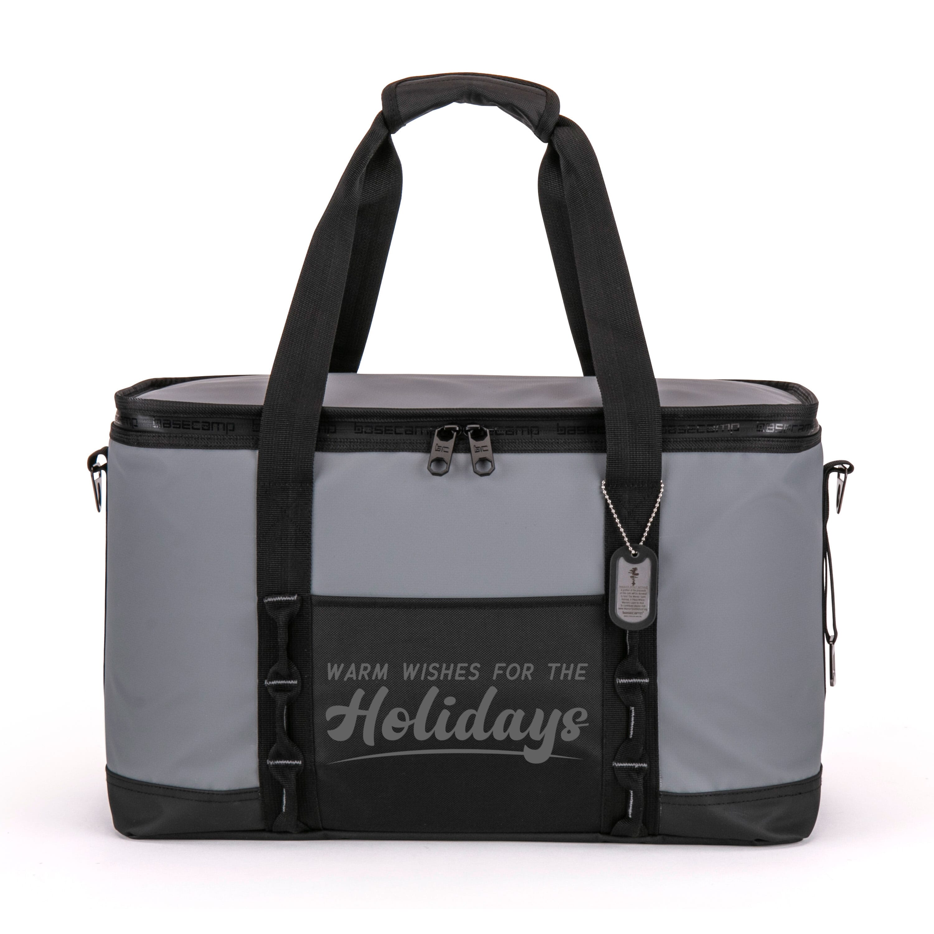 Basecamp cooler tote with holiday imprint