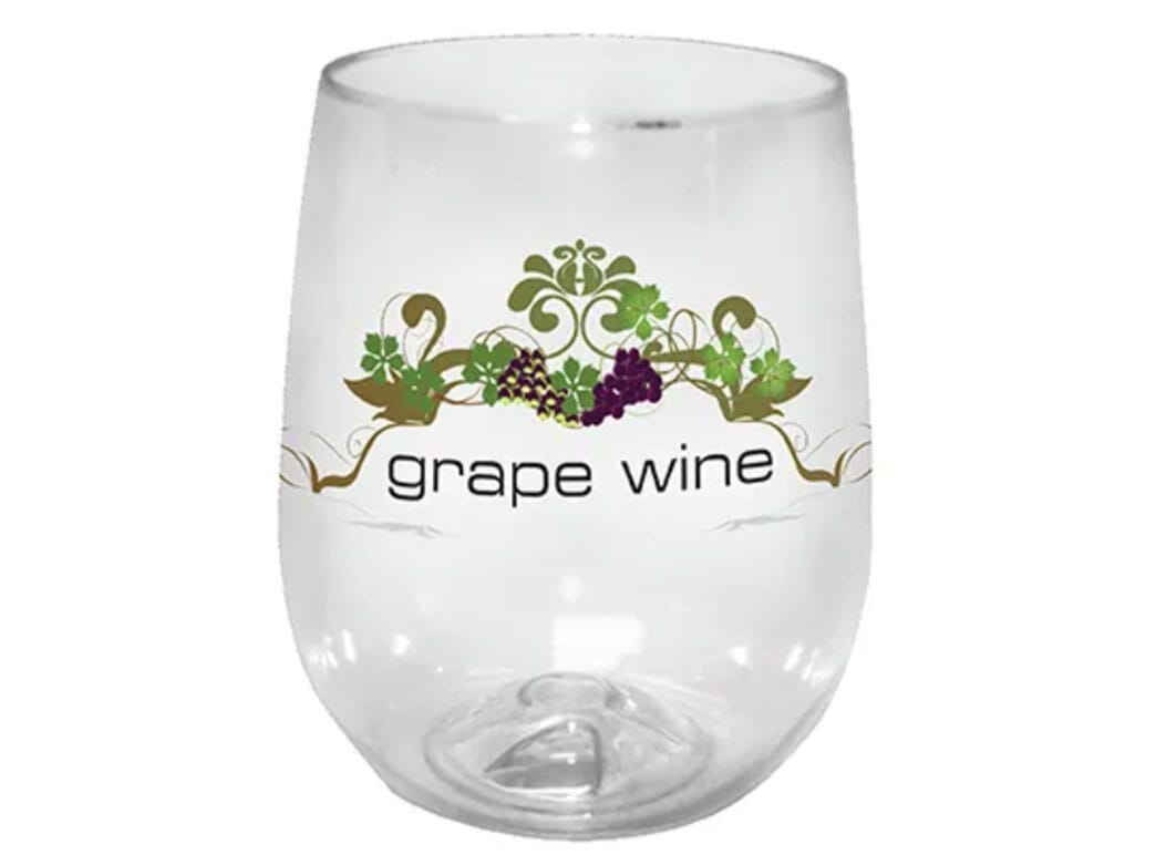 Plastic stemless wine glass
