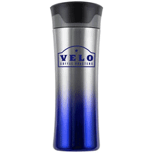 Blue and silver ombre stainless steel tumbler with blue logo and black and gray plastic lid