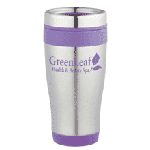 Stainless steel tumbler with purple logo, base and top band