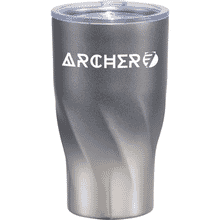 Gray and silver ombre tumbler with geometric spiral base, white logo and clear plastic lid