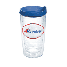 Clear plastic tumbler with blue plastic lid and a red, white and blue embroidered logo