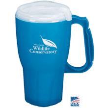 Blue travel mug with white logo, handle and white plastic lid