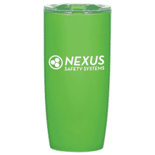 Bright green acrylic tumbler with white logo and a clear and green plastic lid