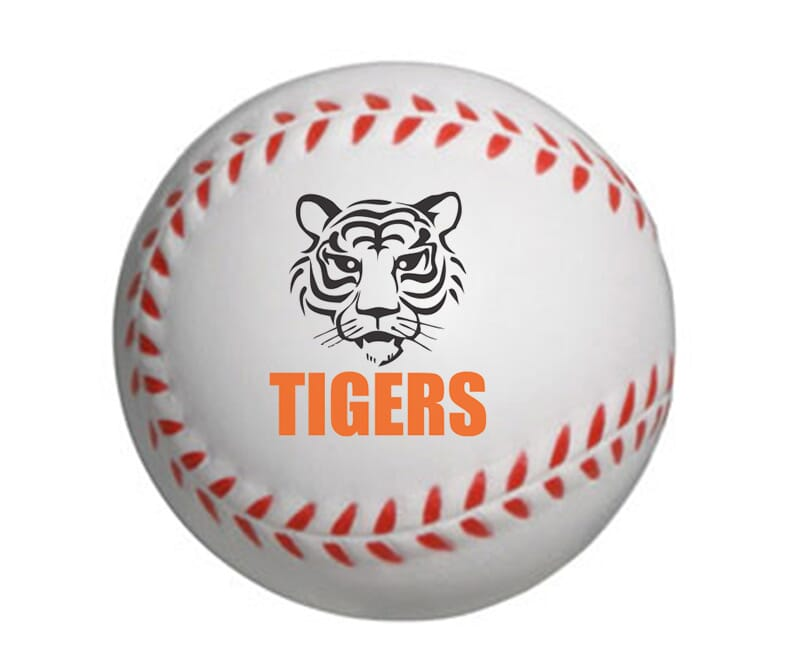 baseball stress reliever with 2 color imprint