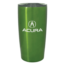 Green stainless steel tumbler with white logo and clear plastic lid