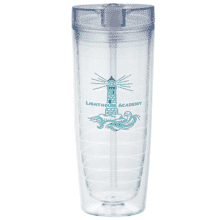 Clear acrylic tumbler with blue logo and straw