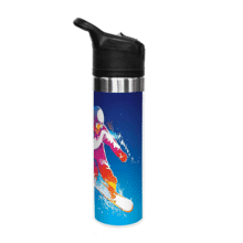 Blue tumbler with image of snowboarder, stainless steel band and black plastic lid