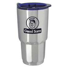 Stainless steel tumbler with black logo and translucent blue plastic lid