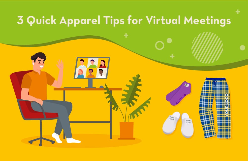 illustration of man attending virtual meeting with apparel ideas