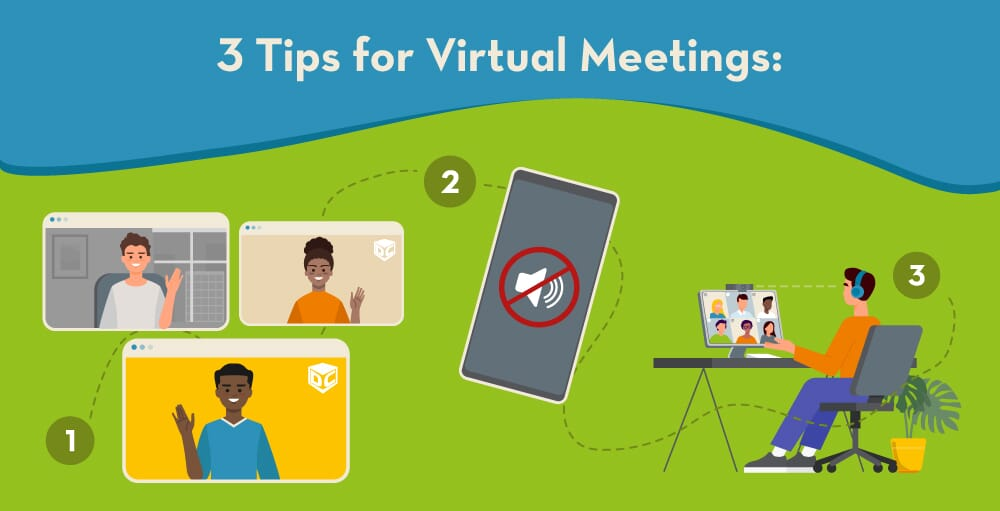 illustration of virtual meeting steps