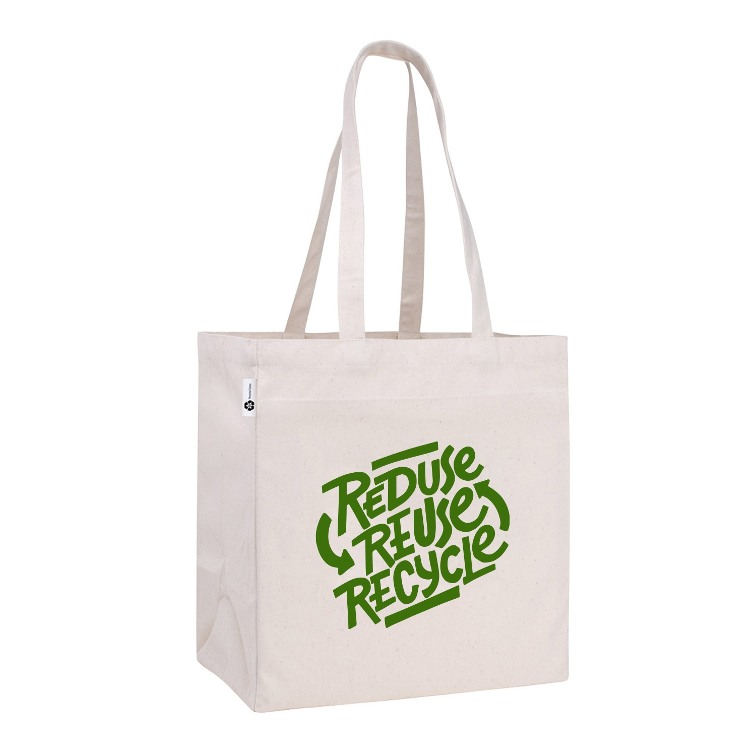 natural tote bag with reduce, reuse, and recycle