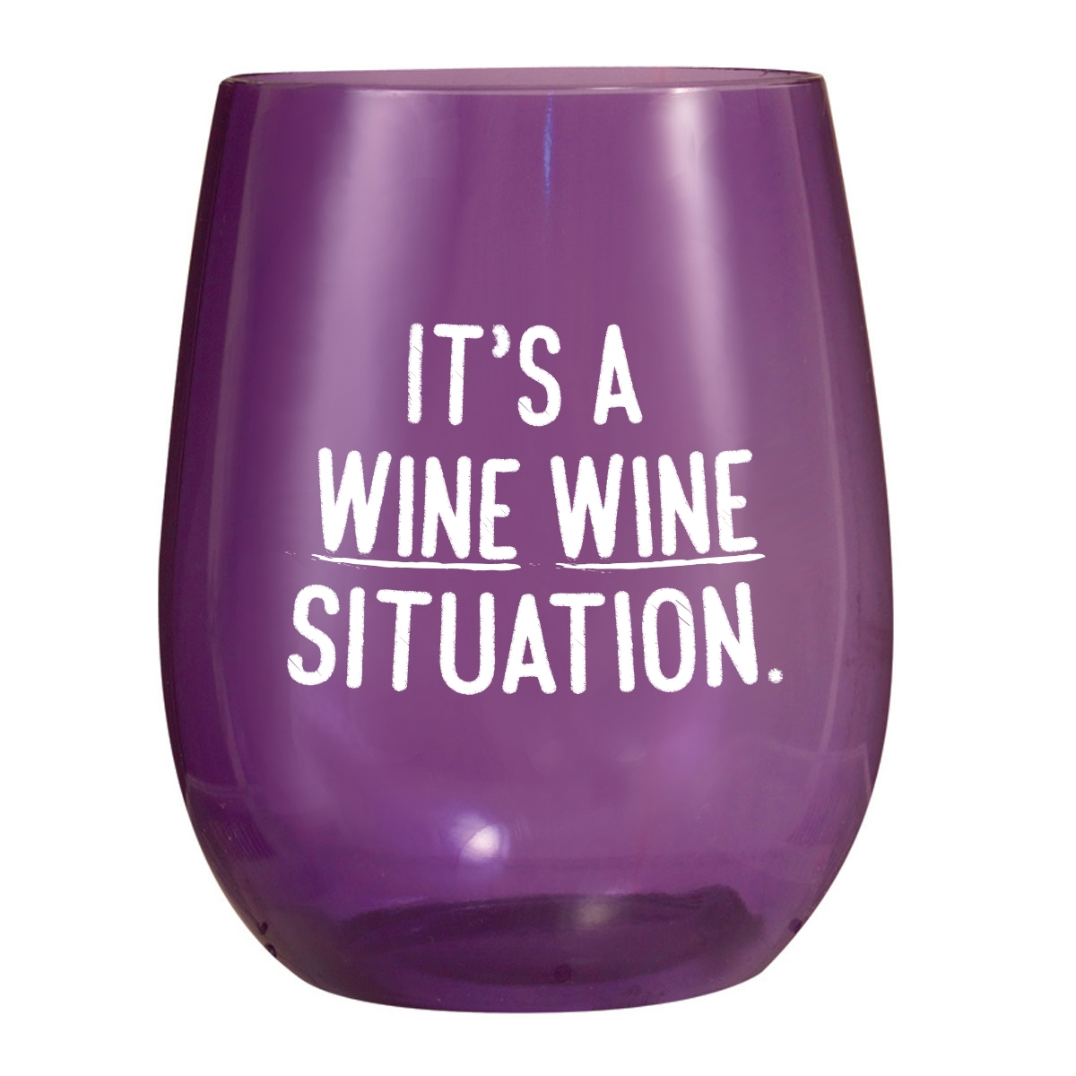 Purple plastic stemless wine cup with wine saying