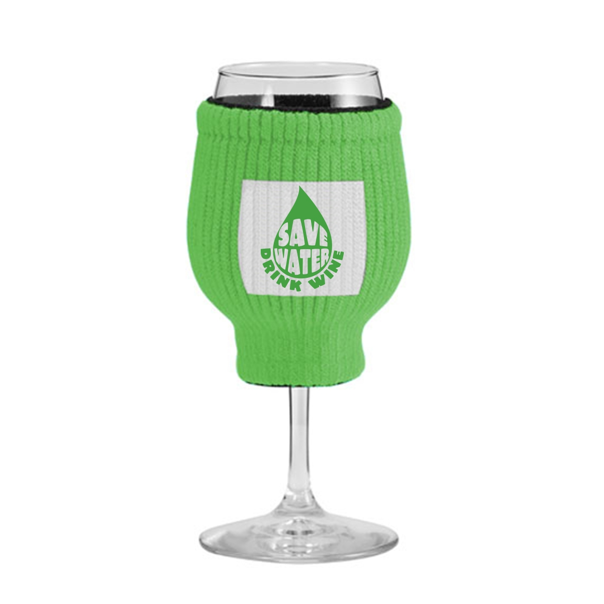 Knit wine glass sleeve with wine saying