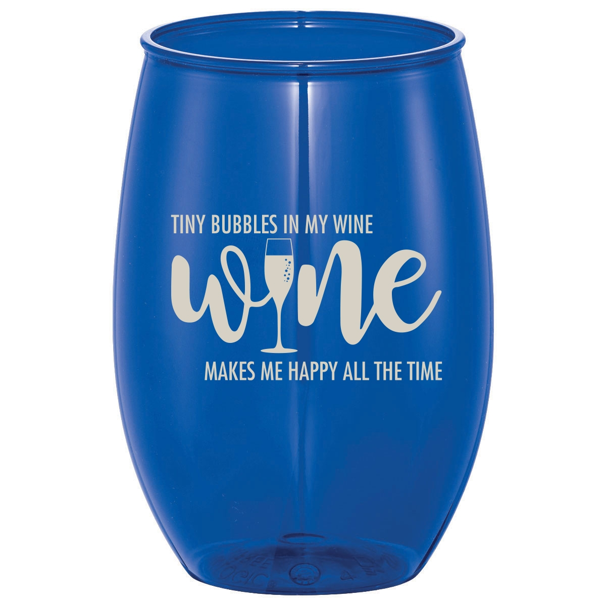 Stemless wine cup with wine quote