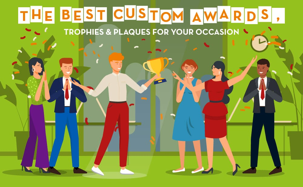 Illustration of employee receiving award