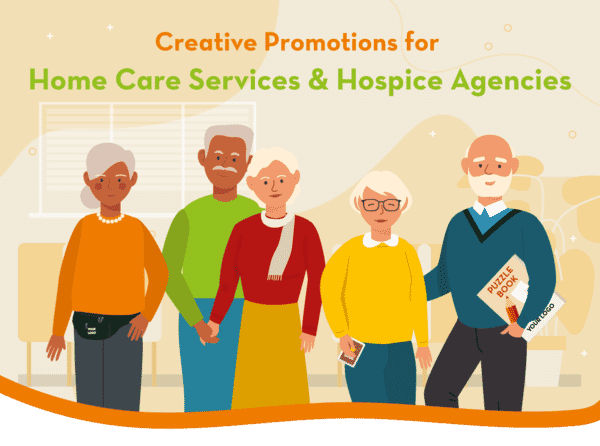 Illustration of residents of a hospice and home care