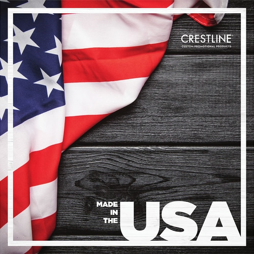 Cover of Crestline's Made in the USA catalog, depicting an American flag in front of a gray wood background
