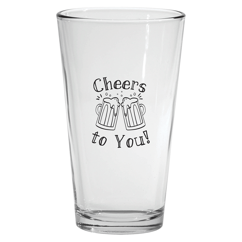 Custom Pint Glass with Employee Appreciation Slogan