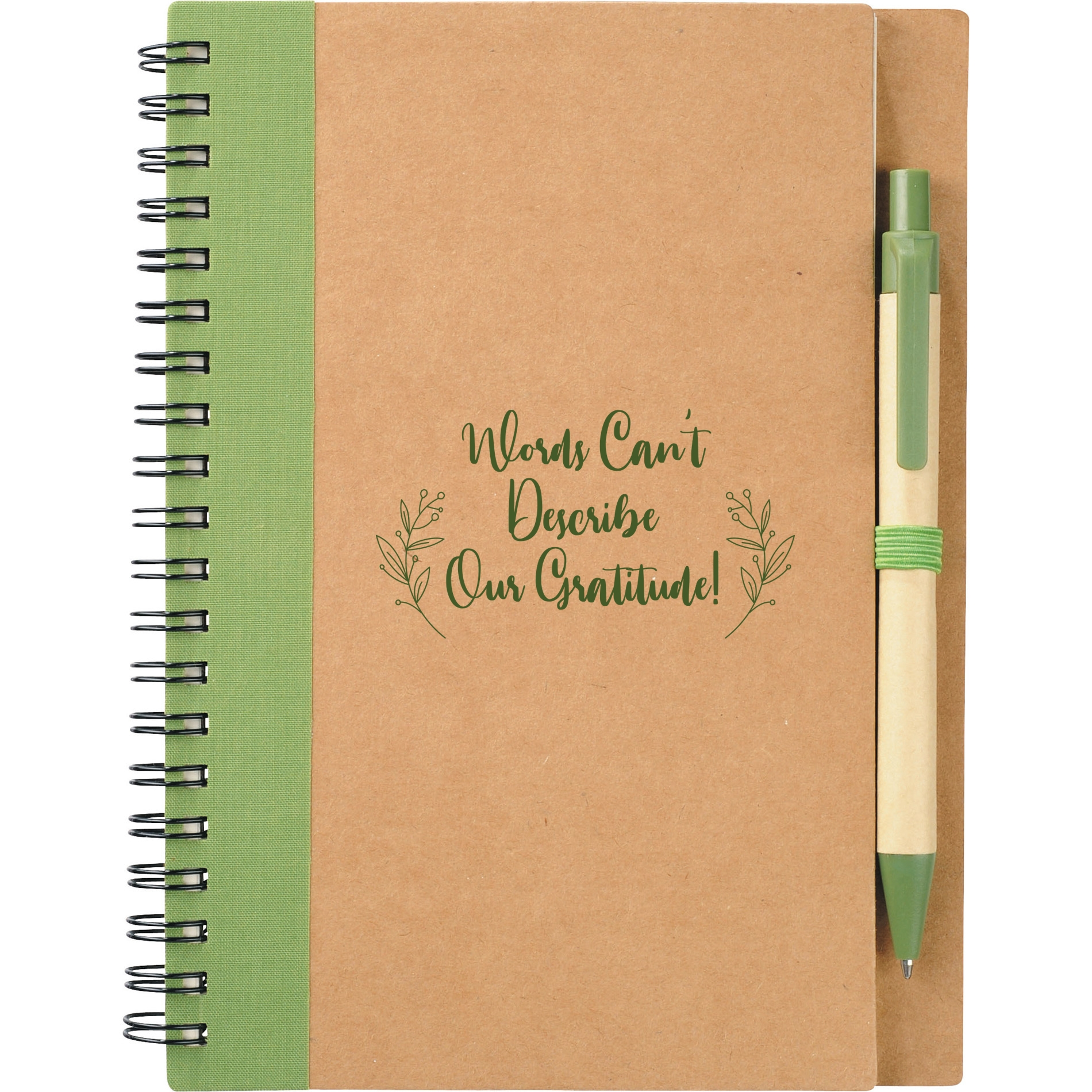 Recycled notebook and pen with volunteer appreciation logo