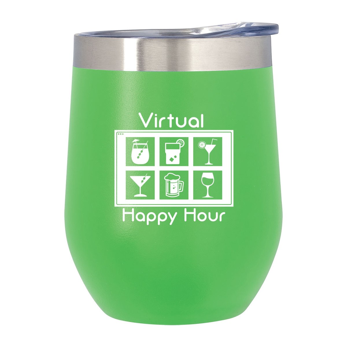 Stemless wine glass with funny quote