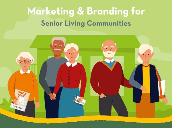 Illustration of residents of a senior living community