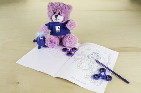 Stress reliever, coloring book, fidget spinner, lavendar scented teddy bear
