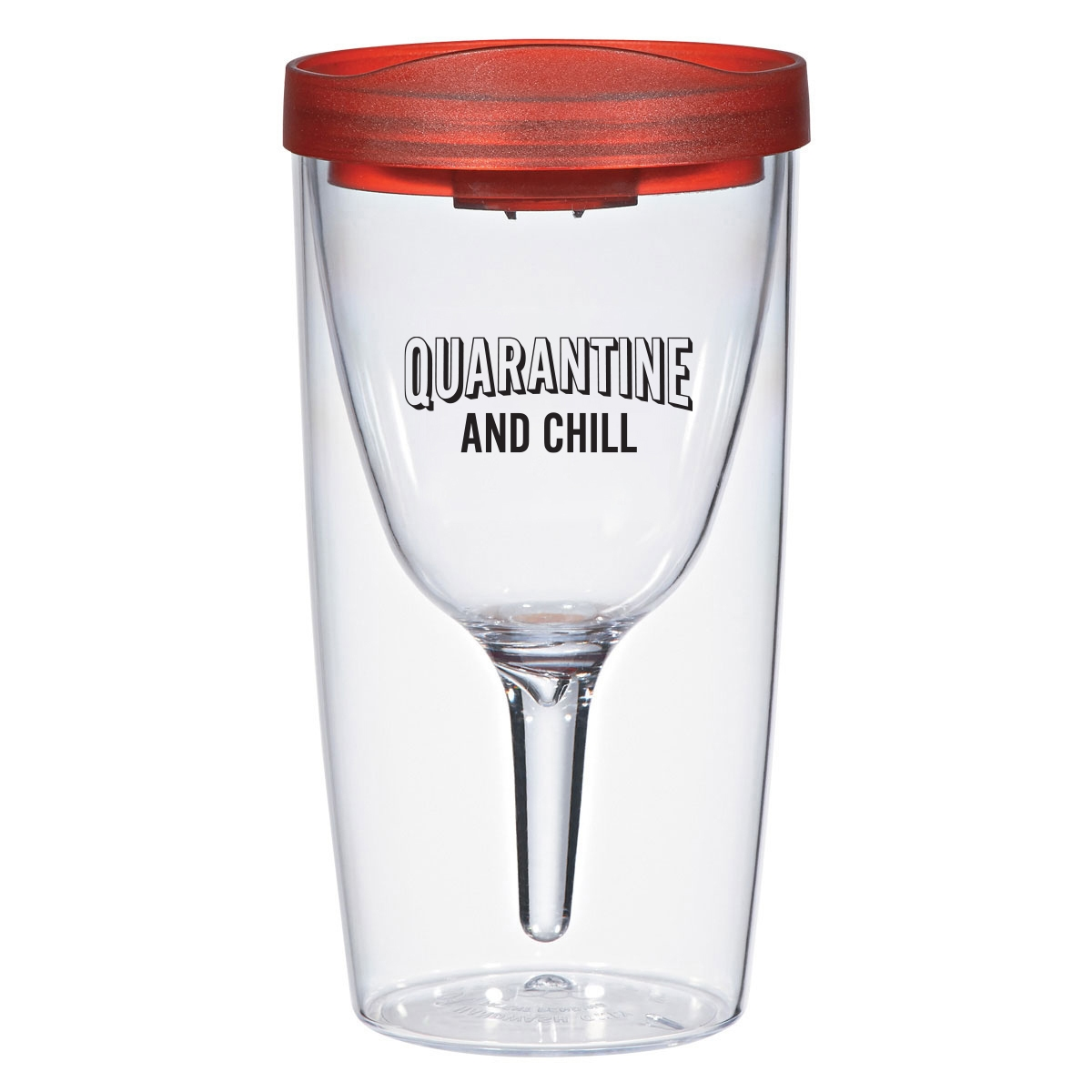 Travel wine tumbler with funny quarantine quote