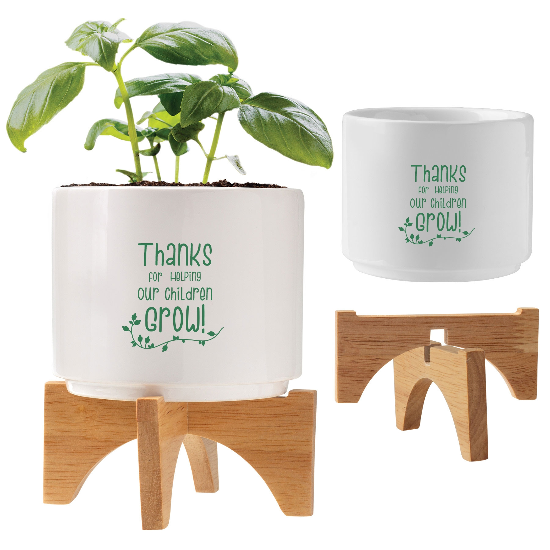 Ceramic and wood planter set with teacher appreciation quote