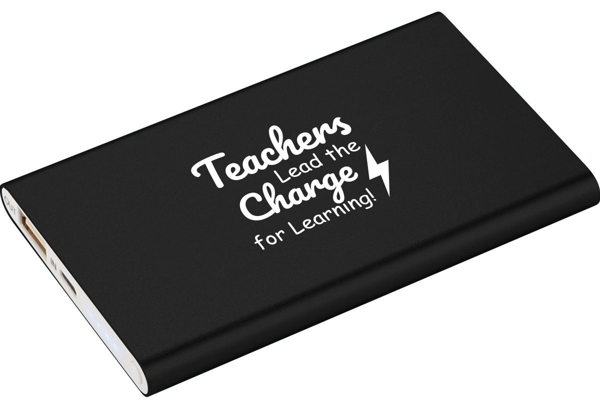 Power bank with teacher appreciation saying