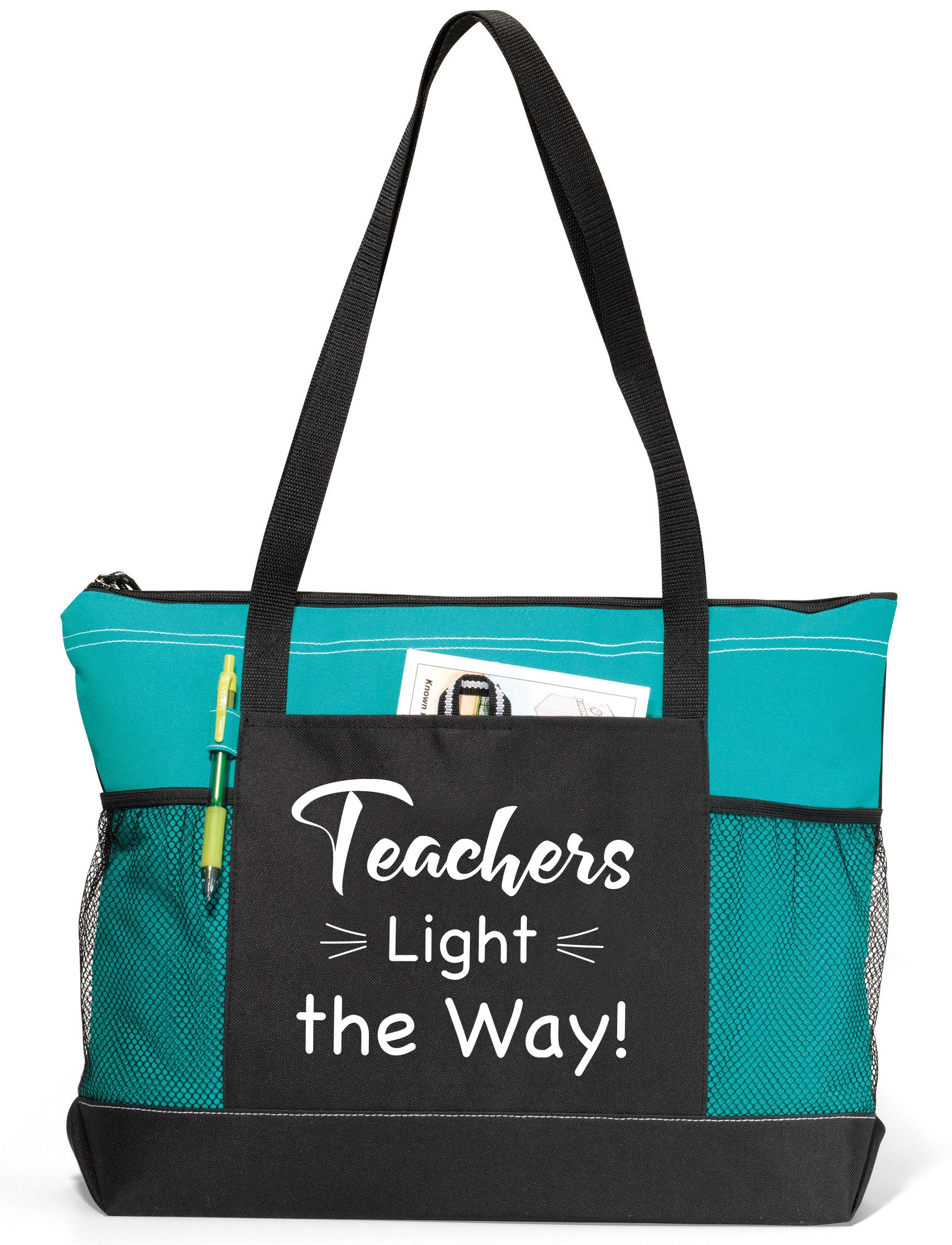 Teal tote bag with teacher appreciation saying