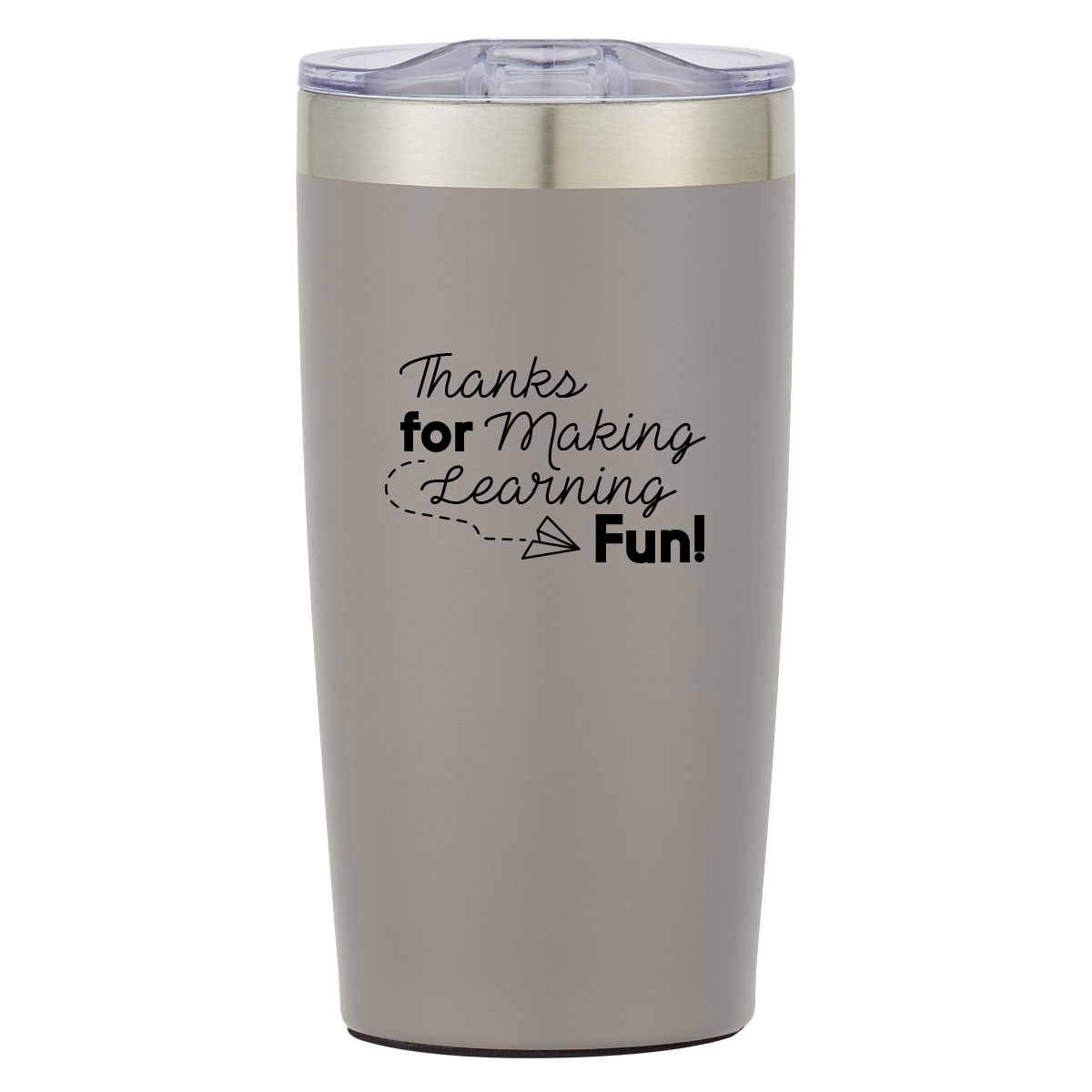 Insulated travel mug with teacher appreciation quote