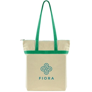 Tan tote bag with green straps and green logo