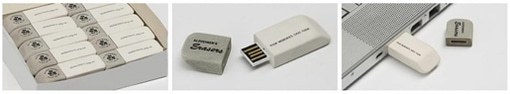 Three images portraying white and grey eraser-shaped USB sticks printed with: Alzheimer's erasers. Your memories. Save them