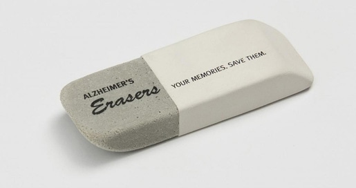 White and gray eraser printed with the words: Alzheimer's Erasers. Your Memories. Save them.