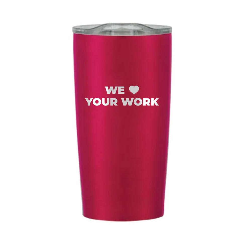 Pink stainless steel tumbler with appreciation quote