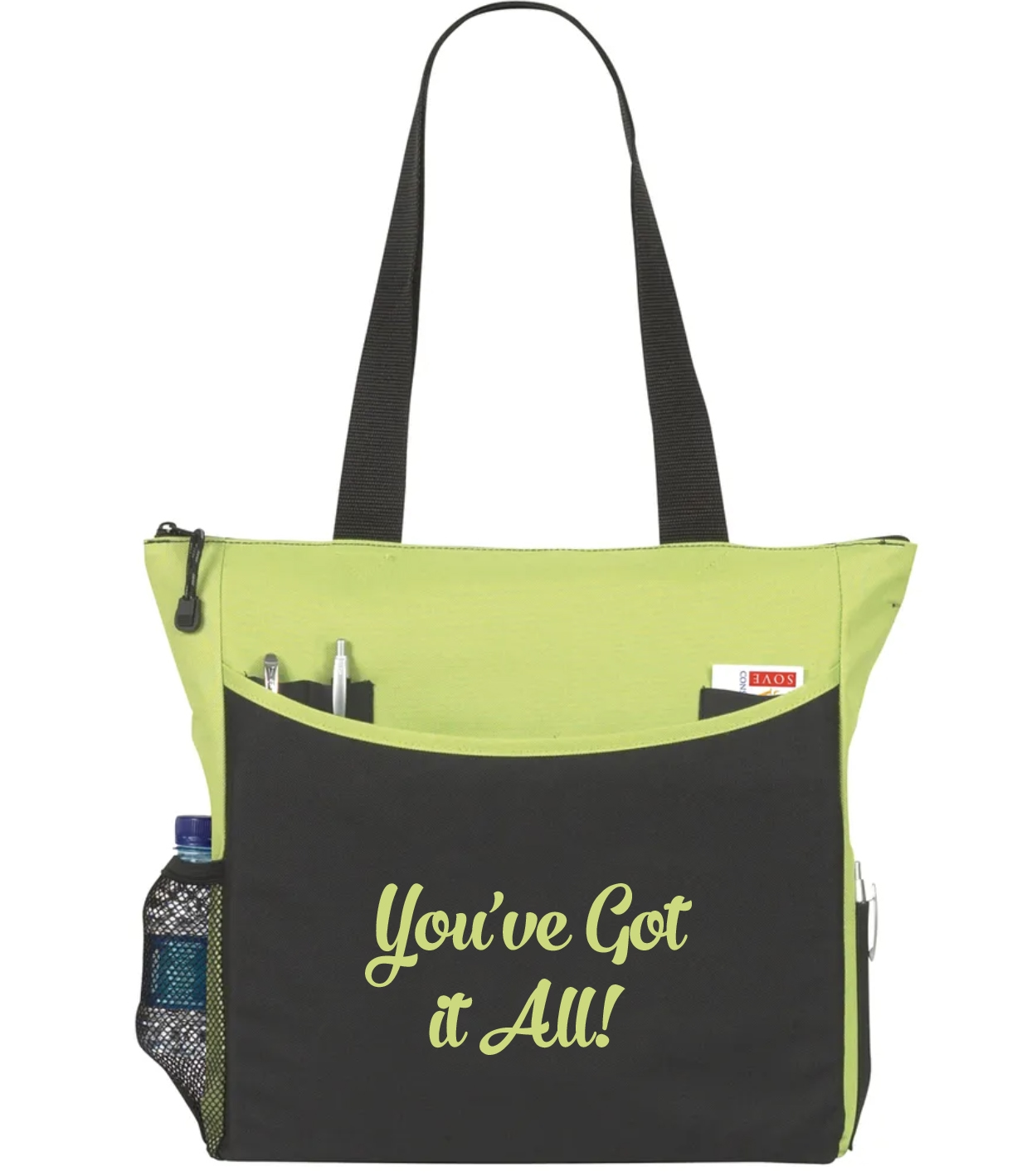 Black and green tote bag with employee appreciation imprint