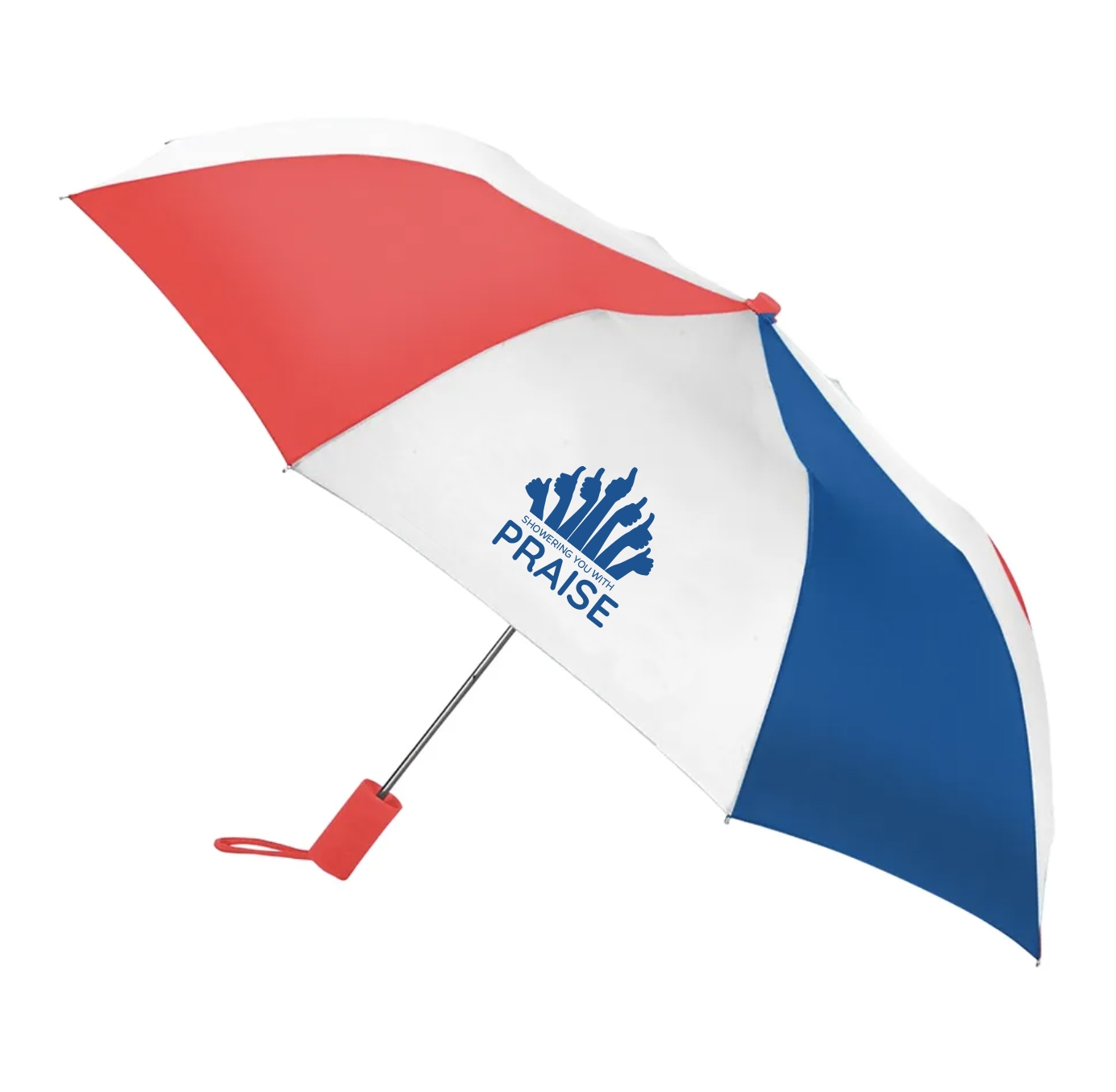 Red white and blue umbrella with appreciation saying