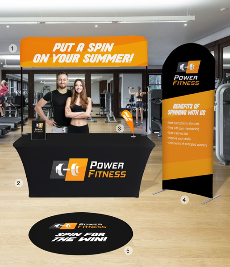 promotional displays at fitness center