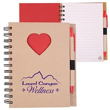 Red heart notebook and pen